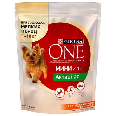 Корм для собак Purina One 600г д/собак мелких пород с высоким содержанием курицы и с рисом