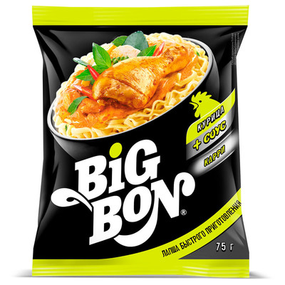 Лапша Big Bon 75г курица карри пакет