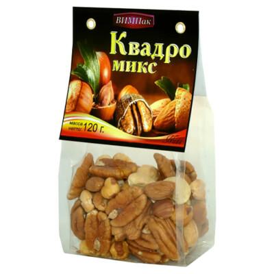 Ореховая смесь квадро- микс ВИМПак 120г миндаль, фундук, кешью, браз орех
