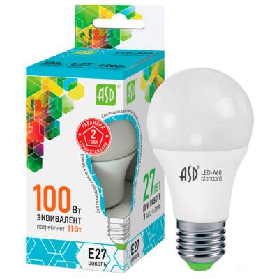 Лампа светодиодная ASD 11вт а60 е27 холодный свет