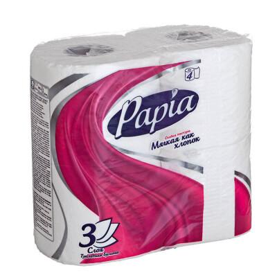 Туалетная бумага Papia 4шт 3-х слойная белая