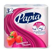 Туалетная бумага Papia 4шт 3-х слойная арома клубничная мечта
