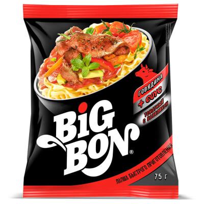 Лапша Big Bon 75г говядина + томатный с базиликом соус б/п