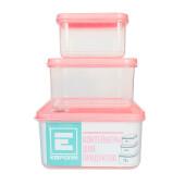 Комплект контейнеров для продуктов Европа 0,4л /0,7л /1,2л розовый GR1858