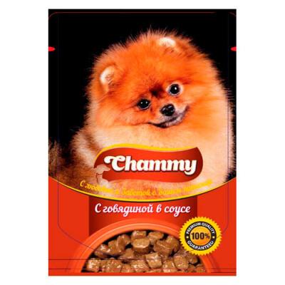 Корм для собак Chammy 85г с говядиной в соусе