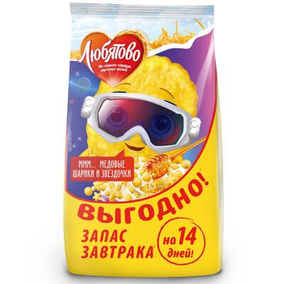 Шарики и звездочки Любятово 420г медовые пакет