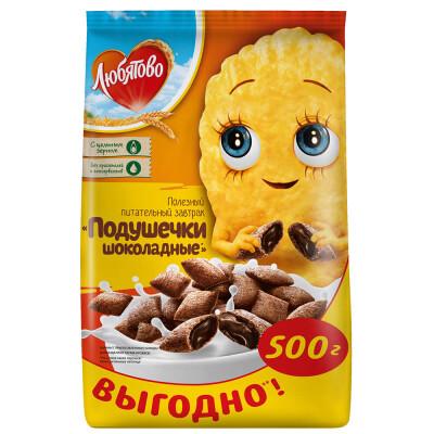 Подушечки Любятово 500г с шоколадной начинкой пакет