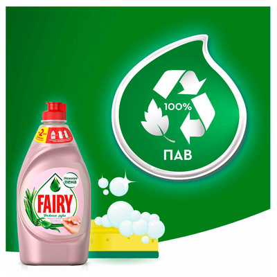 Средство для мытья посуды Fairy 900мл нежные руки розовый жасмин и алоэ