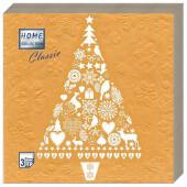Салфетки Home Collection 20шт 33*33см 3 слоя новогодняя ель на золоте