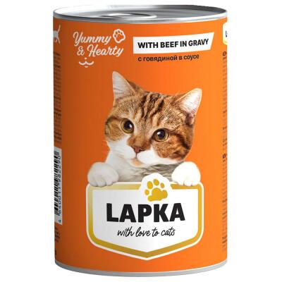 Корм для кошек Лапка 415г с говядиной в соусе ж/б