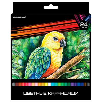 Набор цветных карандашей SchoolФормат Дикая планета 24 цв. Трехгра