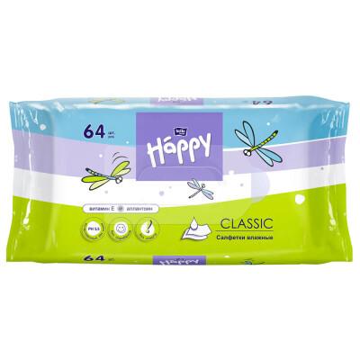 Салфетки влажные BELLA BABY HAPPY 64шт Classic с витамином е и аллантоином