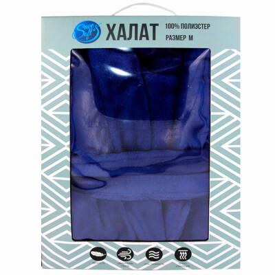 Халат без капюшона Save&Soft синий р.м fb001