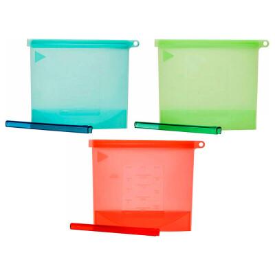 Пакет силиконовый 1л многоразовый с зажимом голубой