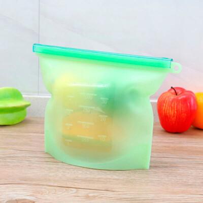 Пакет силиконовый 1,5л многоразовый с зажимом зеленый