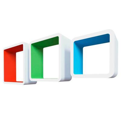 Комплект полок Qwerty амстердам белый/оранжевый/зелёный/голубой 27*27*10см 23*23*10см 19*1