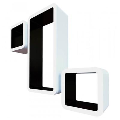 Комплект полок Qwerty рио белый/чёрный 42,5*21*10см 17*17*10см 17*17*10см