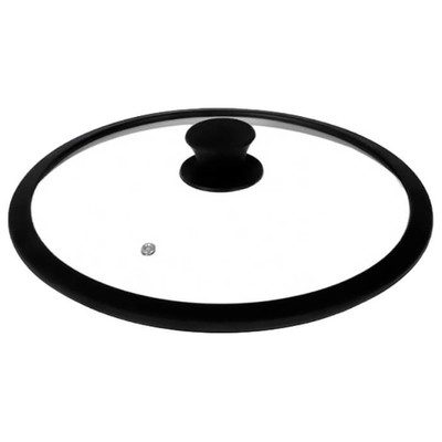 Крышка стеклянная TimA 26см силиконовый обод черная 5026bl