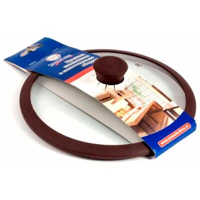 Крышка стеклянная TimA 22см силиконовый обод коричневая 5022br