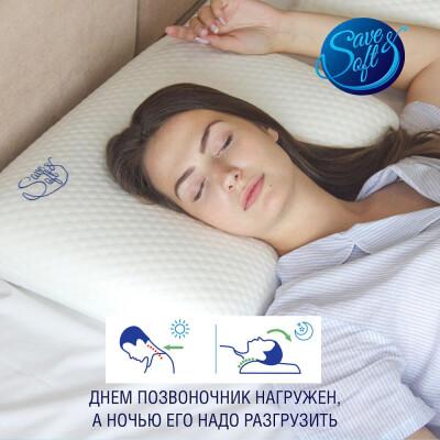 Подушка Save&Soft д/сна с гелевой накладкой 60*40*14см сумка из нетканного материала