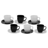 Чайный сервиз 12пр 6персон Luminarc карин 220мл черно-белый d2371