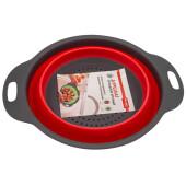Дуршлаг 2,4л Bradex складной круглый красный силикон tk 0349