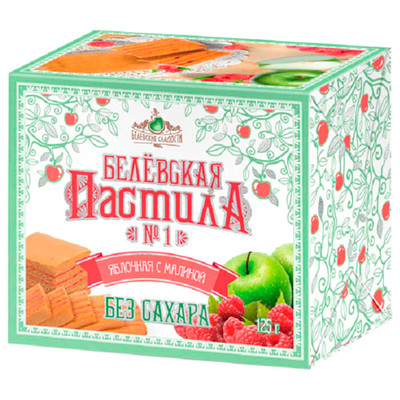 Пастила белевская 125г яблочная с малиной без сахара