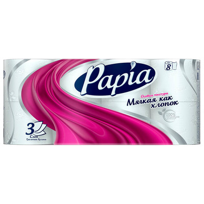 Туалетная бумага Papia 8шт 3-х слойная белая