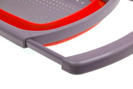 Дуршлаг 4л Bradex складной прямоугольный телескопическая ручка красный силикон tk 0398