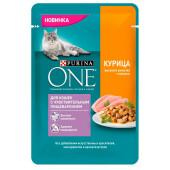 Влажный корм Purina One для кошек с чувствительным пищеварением, курица с морковью, пауч, 75г