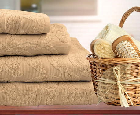 Полотенце Save&Soft махровое светло-коричневый 100*150 см
