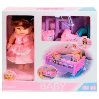 Кукла Там-Там 33см с кроватью-качалкой и аксессуарами звук 8930c