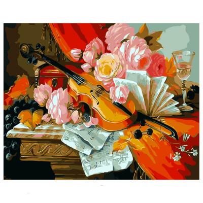Холст для рисования по номерам Рыжий кот 30х40см скрипка с цветами rsl0003