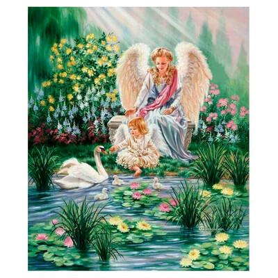 Холст с красками по номерам Рыжий кот 40х50см ангелы у пруда с лебедем х-8277