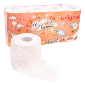 Туалетная бумага Unigood 8 шт 3-х слойная персик
