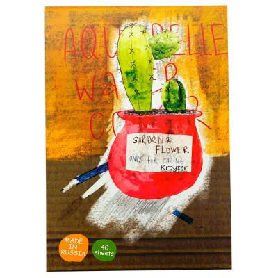 Альбом для рисования акварелью 40л а4 Kroyter серия цветы 1099974