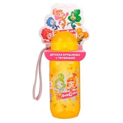 Бутылка 400мл для воды и других напитков фиксики мультяшки верта+симка трубочка шнурок