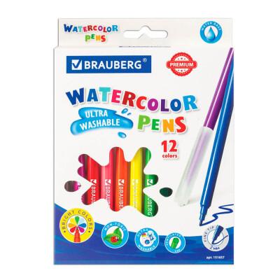 Фломастеры 12цв BRAUBERG премиум ультра-смываемые 151657