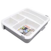 Лоток раздвижной Unigood 30*25*5см для хранения кухонных и бытовых предметов серый ea19074