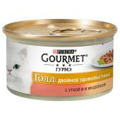 Корм для кошек Gourmet Gold 85г двойное удовольствие с уткой и индейкой ж/б