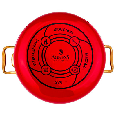 Кастрюля 3,2л Agness красная мраморное покрытие эмалированная 950-211