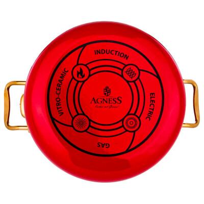 Кастрюля 5,3л Agness красная мраморное покрытие эмалированная 950-213