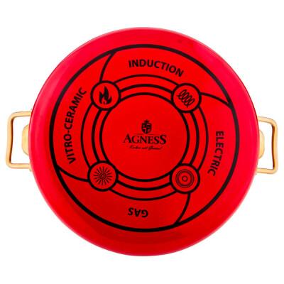 Сотейник 28см Agness красный мраморное покрытие эмалированный 950-215