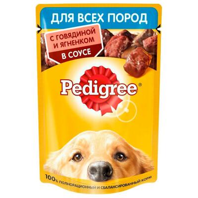 Корм для собак Pedigree 85г для всех пород с говядиной и ягненком в соусе