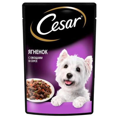 Корм для собак Цезарь 85г ягненок с овощами в соусе