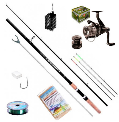 Набор рыбалка спиннинг 2,7м/катушка 2000/леска 150м/2 поплавка/набор грузил/набор крючков