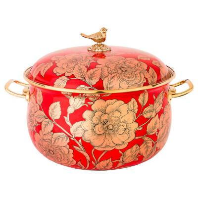 Кастрюля 4,8л Agness эмалированная золото/красная 950-144