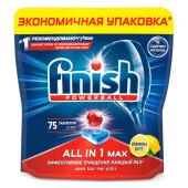 Таблетки для посудомоечных машин Finish 75шт все в 1 лимон