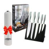 Набор ножей 6пр Европа магнит подставка + мельница электрическая кхр белая в подарок