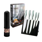Набор ножей 6пр Европа магнитная подставка + мельница электрическая кхр черная в подарок